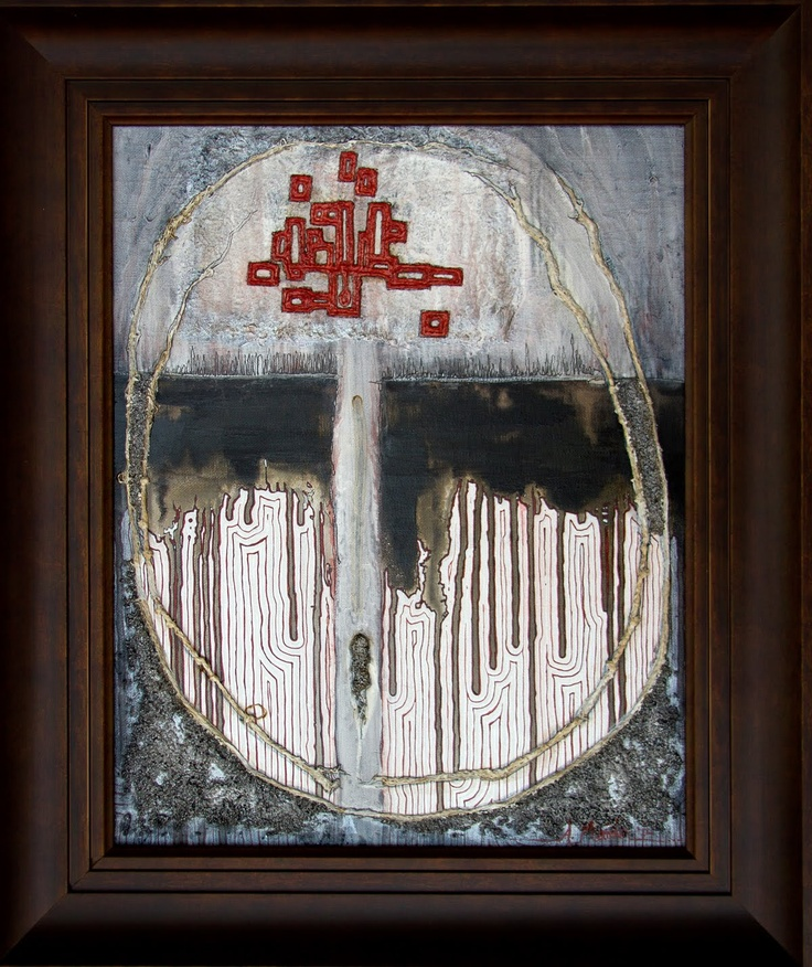 """Glimpse Beyond The Stars"" by Amber Maida 16x20 inches 2012 #painting #mixedmedia #art #ambermaida #linework #red"
