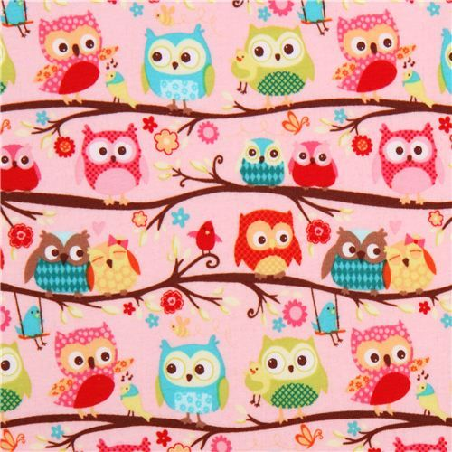 pink Happy Flappers owl twig knit fabric Riley Blake 1