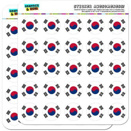 South Korea National Country Flag 50 1 inch Planner Calendar Scrapbooking Crafting Stickers, Clear