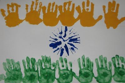 Handprint India Flag - August 15th is Indian Independence Day