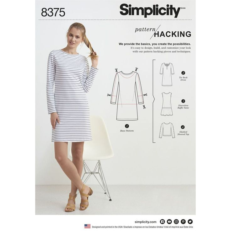 Sew a Misses' knit dress or top YOUR WAY with multiple pattern pieces for design hacking.