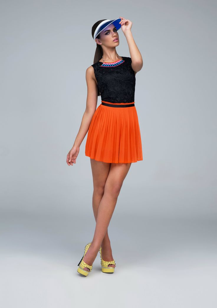 #Spring #Summer two-toned pleated #orange #black #dress