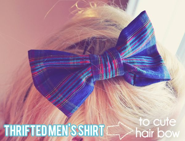 Peacoats and Plaid: DIY Upcycled Men's Shirt to Adorable Plaid Bow