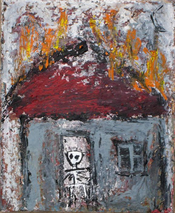 """""""my House caught Fire"""" painting by Tesuque Flea Market artist Kelly Moore…for more paintings go see  www.kellymoore.net"""
