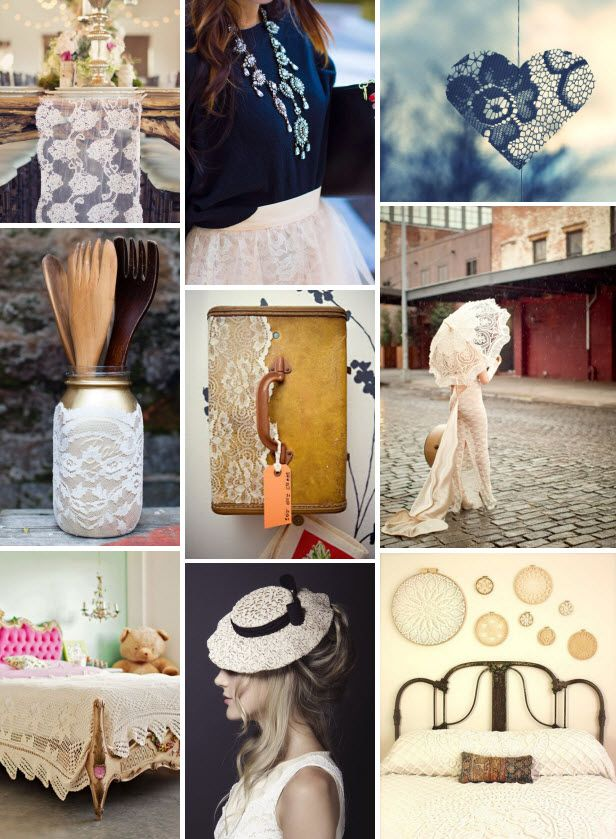 Mood Board Monday: #Lace (http://blog.hgtv.com/design/2014/01/13/mood-board-monday-lace/?soc=pinterest): Hgtv Design, Lace Blog Hgtv Com, Hgtv Com Design, Boards Mondays, Collage, Design Blogs, Blog Designs, Lace Decor, Lace Fashion