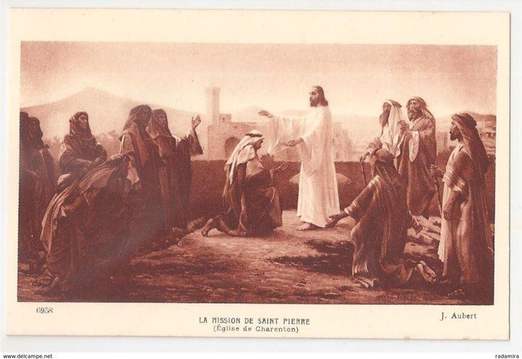 """Carte Postale Ancienne """"LA MISSION DE SAINT PIERRE"""" Joseph Aubert (Église de charenton) Salon de Paris - France."""