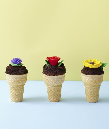 Flower Pot Cupcake Cones | This adorable treat makes for a fun (and tasty!) baking project with the kids. Cupcake batter fills the cone, so every last bite is filled with moist chocolate cake.