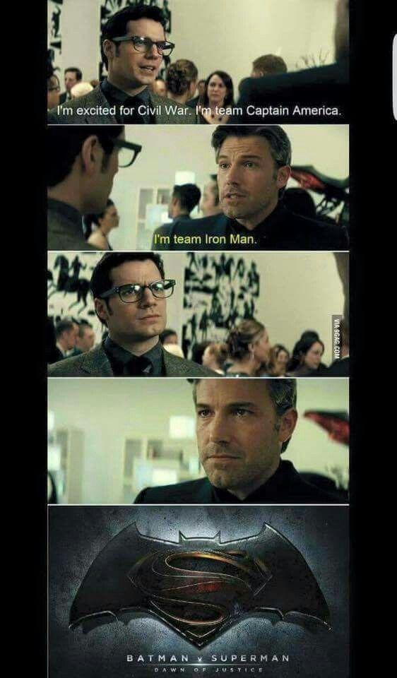Superman and Batman talking g about Civil War.