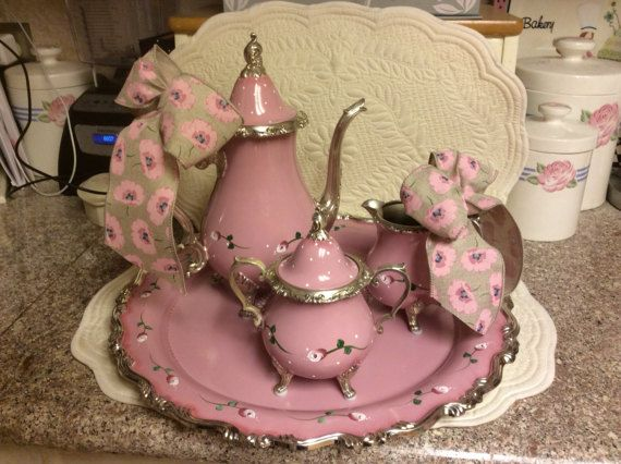 Vintage Silver Plated Tea Set/Custom Painted