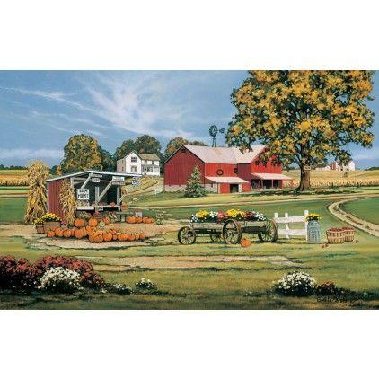 Seasonu0027s Pickinu0027s Print   Art Featuring A Fall Setting, Wagons, Pumpkins,  Farm Yard By Rural American Artist, Bonnie Mohr