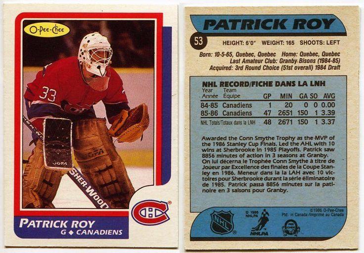 1986/87 OPC Patrick Roy Rookie Card #MontrealCanadiens #habs #patrickroy #Rookie