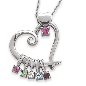 Mothers Necklace with Kids Birthstones.  What mom doesn't love jewelry?  I love the little details in this necklace...from the tiny heart at the very top to the delicate swirls of the larger heart charm.  And this necklace has mom's birthstone as well, which you don't find very often.