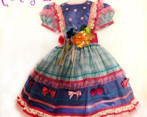 Vestido 8 ANOS quadrilha Festa Junina | Cor & Sonho | Elo7