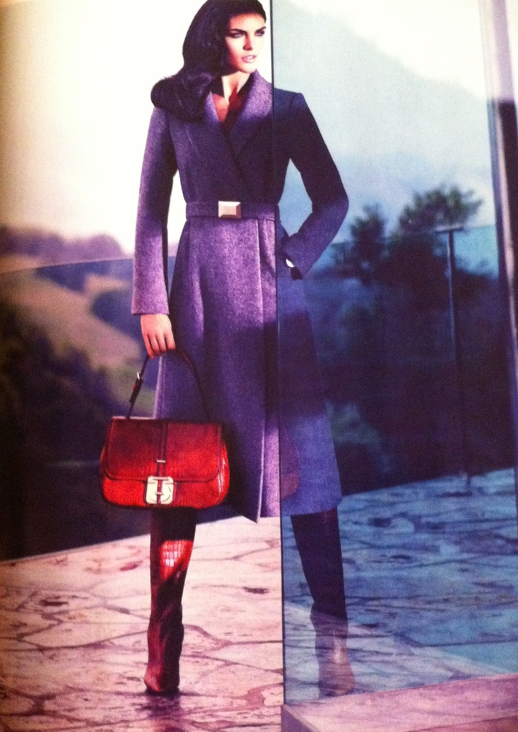 Love the coat and handbag, don't like the boots much. BOSS Hugo Boss advertisement on Vogue USA Sept.'12