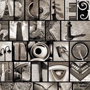 take pictures of objects that look like letters and frame them to spell out names