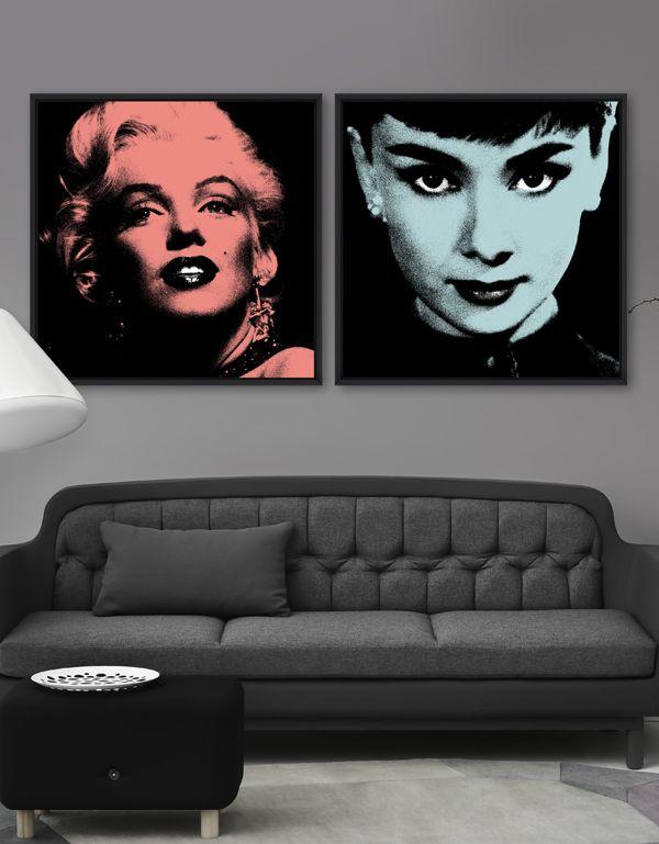MARILYN & AUDREY - Framed Glitter Canvas by MINDTHEGAP