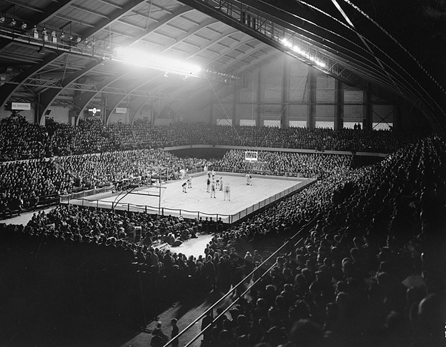 A large crowd watches an MSU basketball game, 1940 by Michigan State University Archives, via Flickr