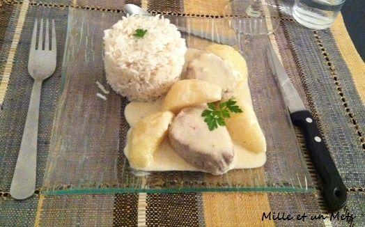 Filet mignon de porc au roquefort & poires