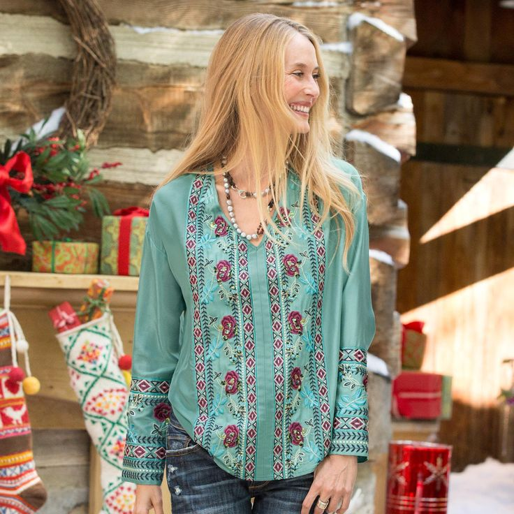 BLUSHING ROSES TUNIC -- Add a touch of enchantment with embroidered roses and clusters of sparkling sequins. Deep embroidered cuffs. Silk. - #CowgirlChic