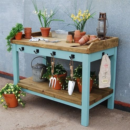 Large Garden Potting Table - hooks on the front