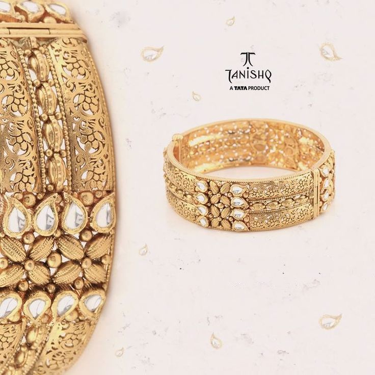 Gold Big Bangles from Tanishq, Gold Broad Bangles from Tanishq, Gold Kundan…