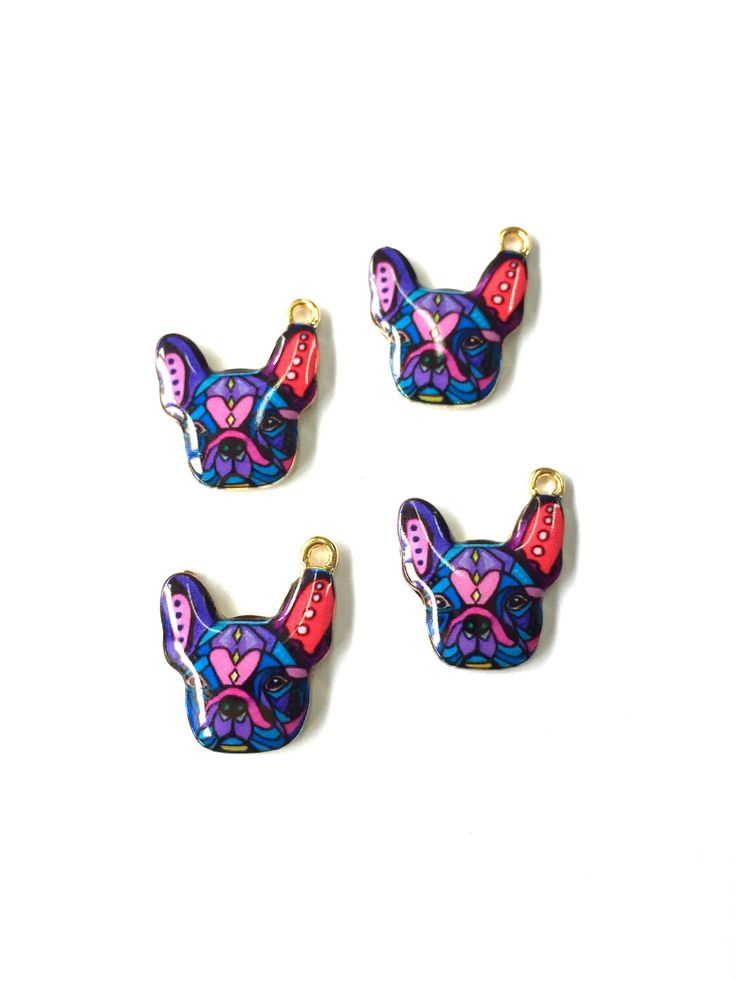 Purple and Blue Abstract Painted Enamel French Bulldog Charms by KajaSupplies on Etsy