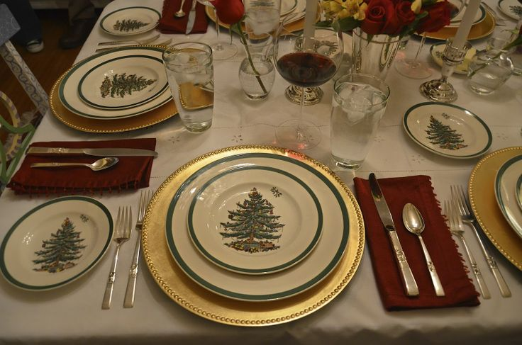 I'm still in search of the perfect charger for my Spode Christmas Tree pattern.  This gold might work.