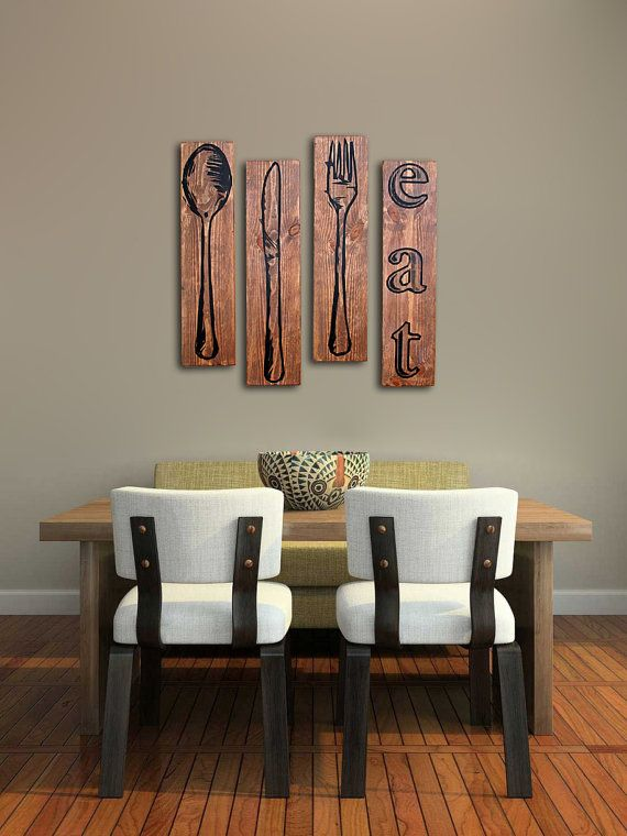 Extra Large Fork Knife And Spoon Wall Art Eat Sign Set On Distressed Solid Wood 32 X 8 Each