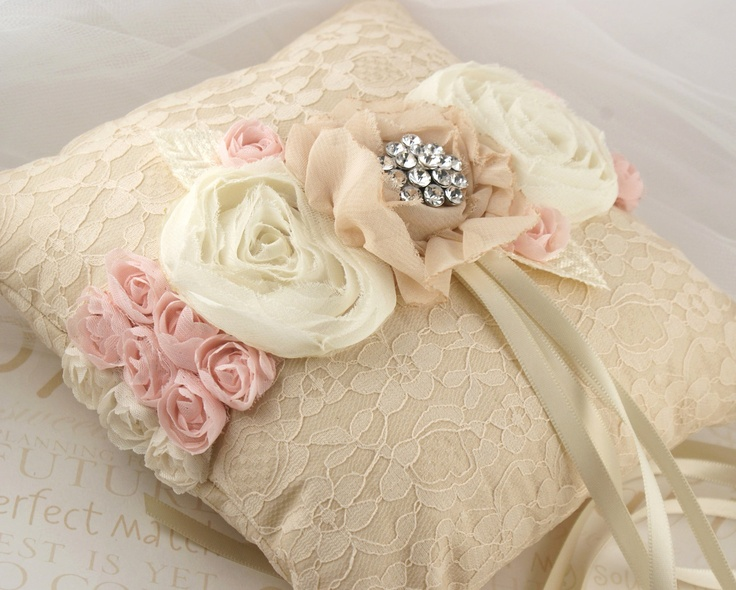 Elegant cream rose diamond pillow.