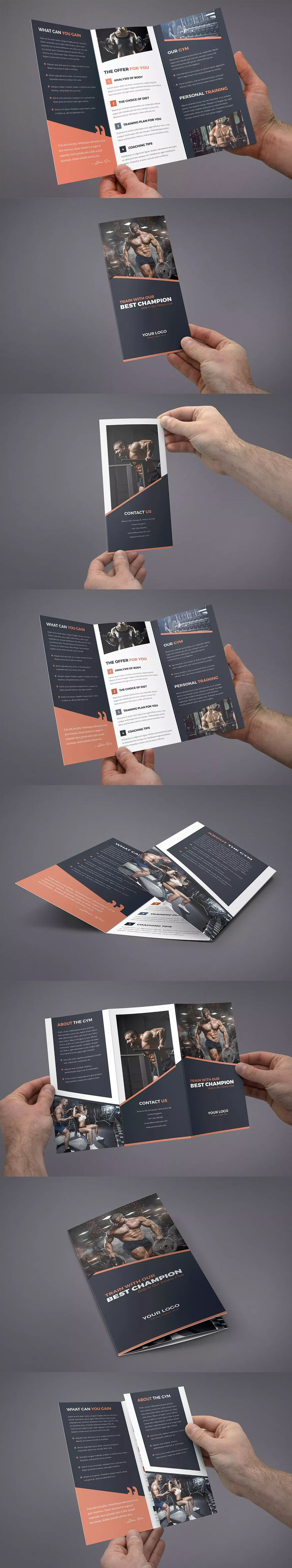 Gym Tri-Fold Brochure Template PSD - A4 and US Letter Size