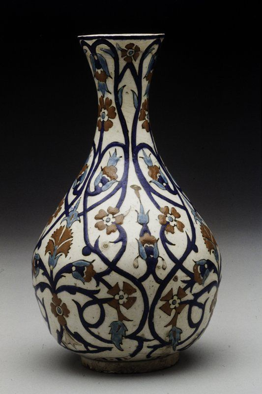 Vase 16th century  Artist Unknown (Turkey, Europe)  Iznik ware Slip-coated earthenware with blue and red pigments under clear glaze