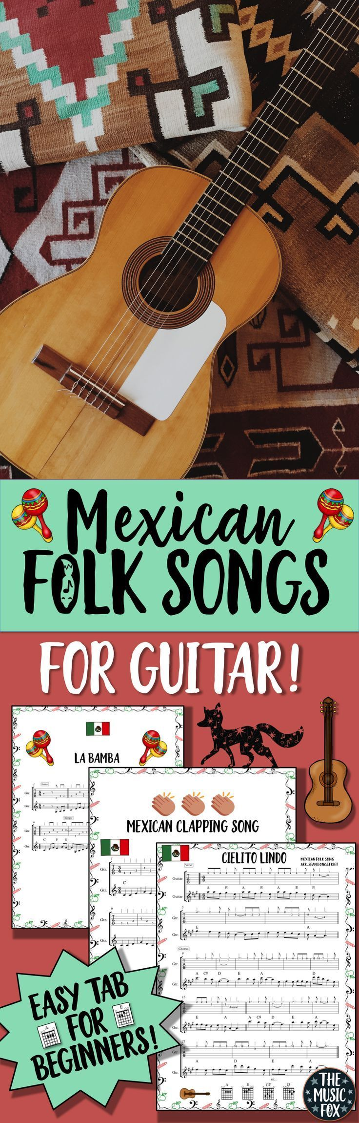 "This resource includes the sheet music, chords, and guitar tablature for three Mexican folk songs: ""Cielito Lindo""""The Mexican Clapping Song"" and ""La Bamba."" Great for beginners but flexible to challenge more advanced players as well. Aligned with the current NATIONAL CORE ARTS STANDARDS!"
