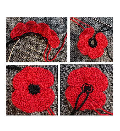 Ravelry: knit flat, no-sew poppy pattern by Suzanne Resaul
