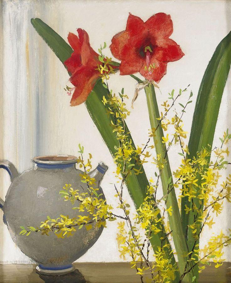 Still life with amaryllis - Olle Hjortzberg (Swedish)