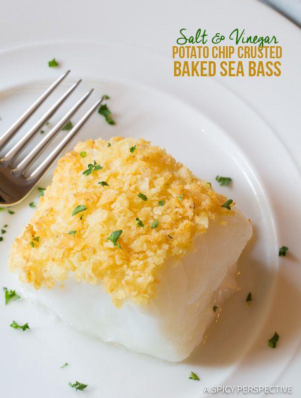 3-Ingredient Salt and Vinegar Potato Chip Crusted Baked Sea Bass Recipe | ASpicyPerspective.com