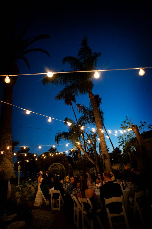 Cafe lights for an outdoor reception