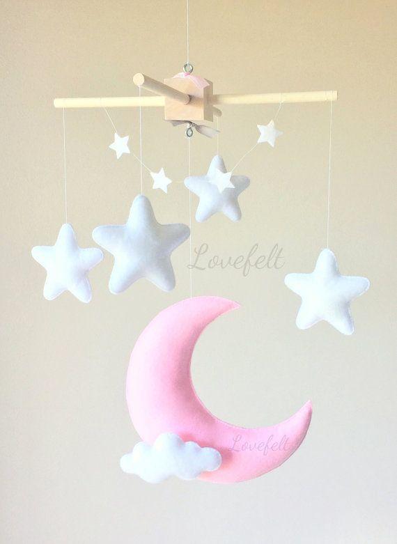 Baby mobil Mobile Mond Mond Sterne mobile von lovefeltmobiles