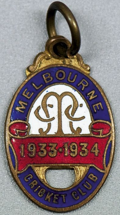 MELBOURNE CRICKET CLUB, membership badges for 1933-34,