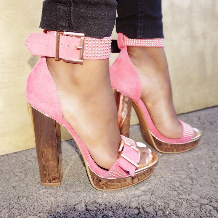 Pink Women's Sandal High Heels Tg 38