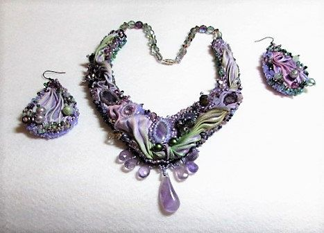Amethyst and shibori silk bead embroidered bib necklace with matching shibori earrings by SassyBeadedJewelry on Etsy