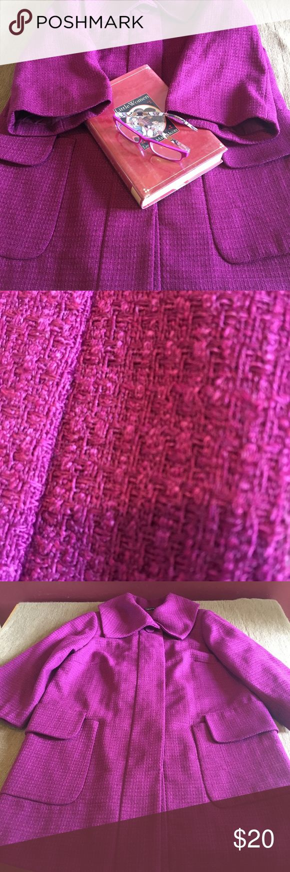 """📖May📖 gorgeous fuchsia tweed jacket size 8 COME JOIN THE STORY May, beautiful fuchsia tweed jacket. The color is so rich!  Size 8 measurements: shoulders 15"""", pits 20"""", length 33 1/2"""", arm length 18 1/2"""". Choir boy sleeves so check measurements as they are shorter than normal. Great condition. Relativity Relativity Jackets & Coats Pea Coats"""