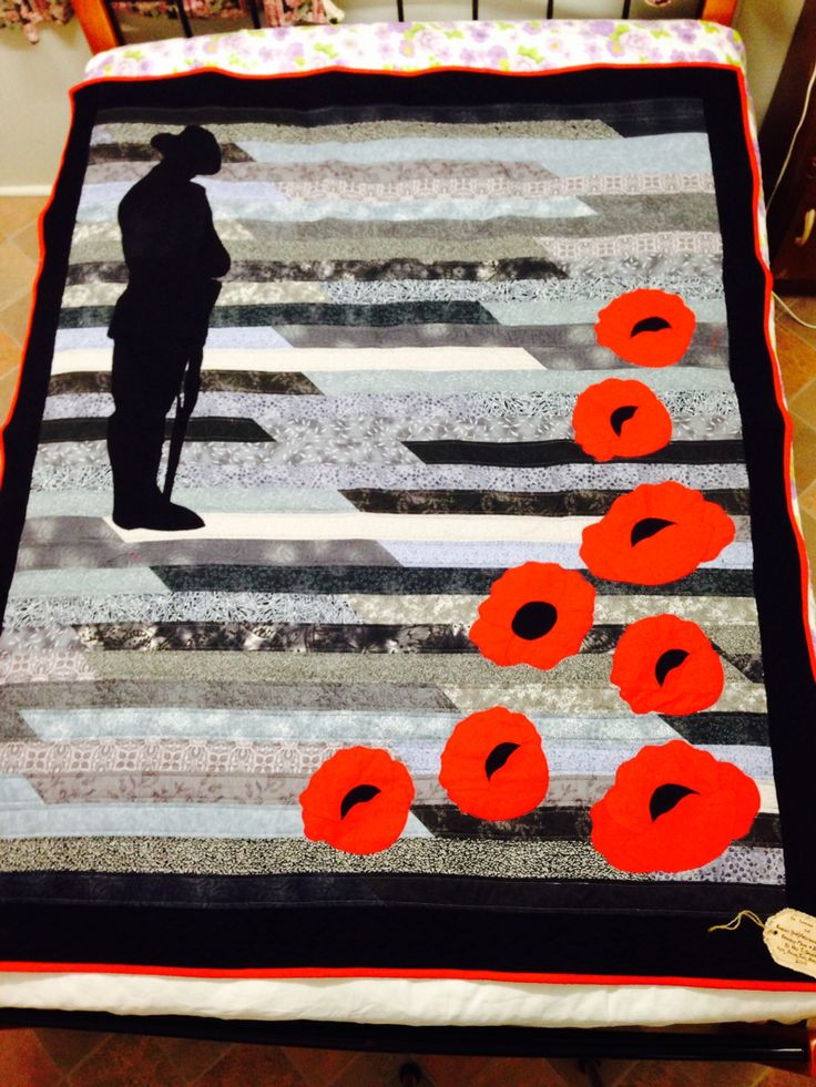 Anzac quilt made by me and my four sisters in memory of our dad