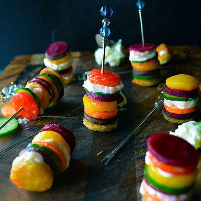 ぬるチーズと野菜のカラフルピンチョス パーティーに 簡単バル風 おつまみ