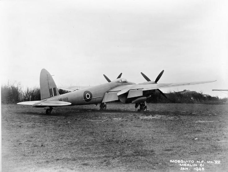 The prototype Mosquito NF Mark XV, MP469, the former pressurised Mosquito prototype, at Hatfield, Hertfordshire, after modification by the De Havilland Aircraft Company as a high-altitude night fighter by increasing the wingspan, and by fitting Rolls Royce Merlin 61 engines with four-bladed propellers. AI Mark VIII centimetric radar in a 'thimble' nose radome and a ventral gun pack housing four .303in machine guns were also added .
