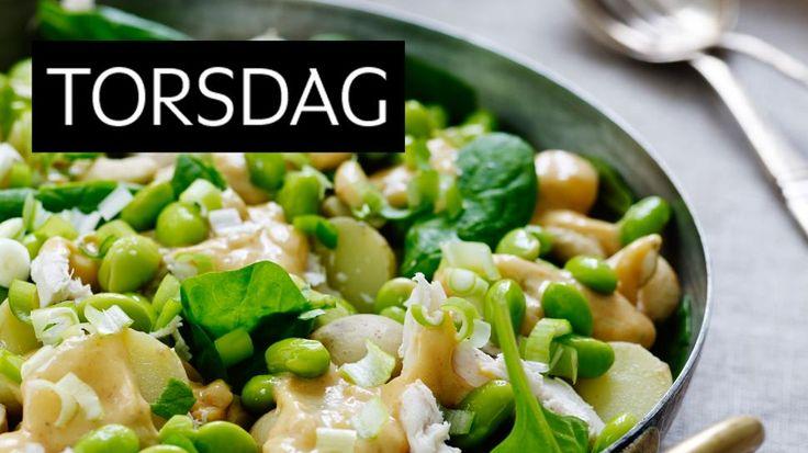 POTETSALAT MED KYLLING OG PEANØTT-CHILIDRESSING: En utradisjonell salat fylt med kylling, grønnsaker og potet. Dressingen er myk og kremete med en spennende smak. Foto: Henrik Freek Christensen