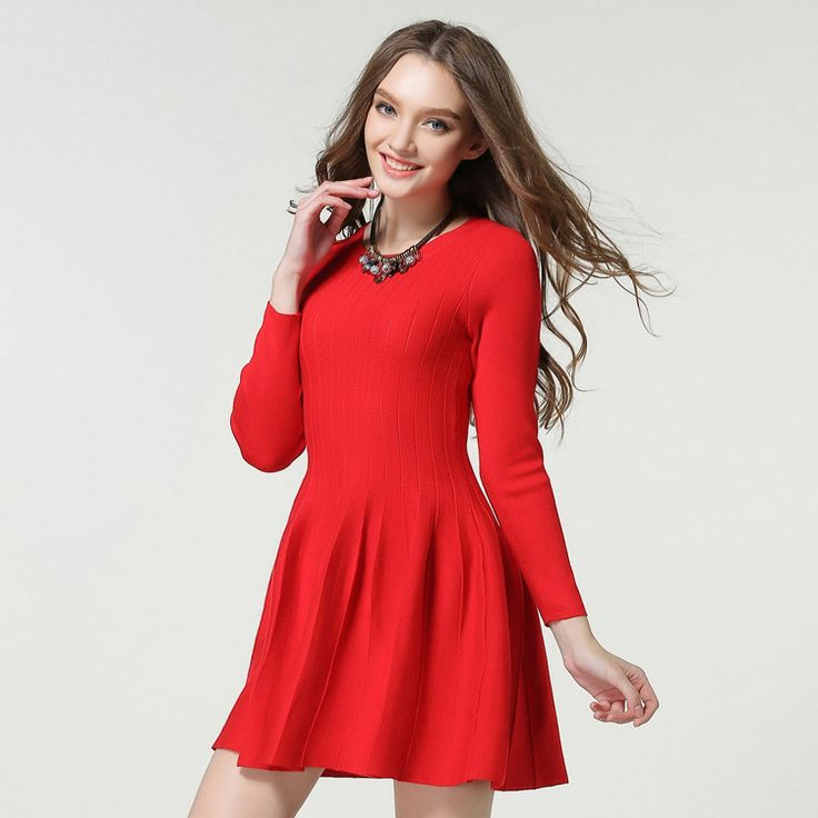 consumer reviewsEuropean women's fashion red and black dress long sleeve  knit ball grown