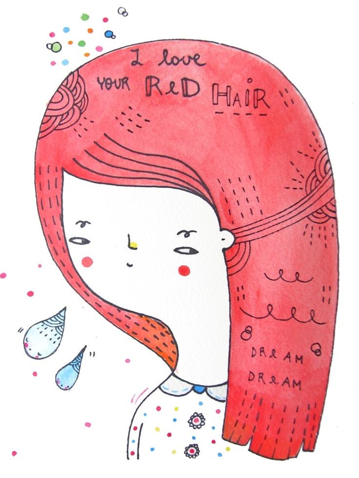 Red Hair Original Watercolour Illustration by PinkrainShop