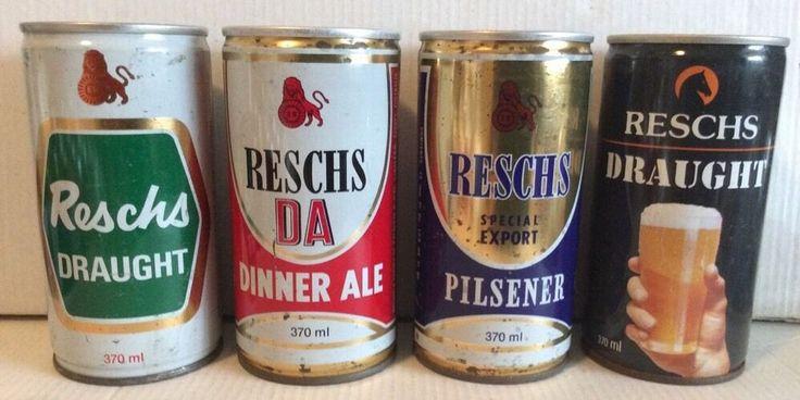 Reschs. 370ml Steel Collector Beer Cans. Draught. Pilsener. Dinner Ale.