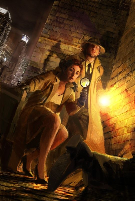 Man and Woman Detectives Inspecting a Crime Scene | Concept Art by Nacho Molina | Film Noir
