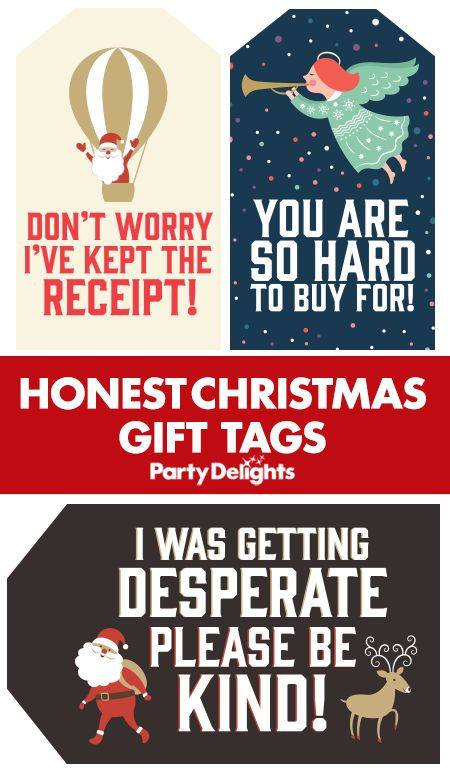 Download our honest Christmas gift tags to put a unique touch on your Christmas presents! These free gift tags include funny Christmas slogans that tell the truth about the present inside! Plus our printable Christmas gift tags won't cost you a penny! Find more cheap Christmas ideas on the Party Delights blog.
